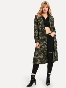 Belted Camo Long Coat
