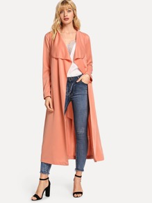 Solid Belted Long Coat
