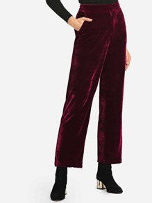 Pocket Decoration Solid Velvet Pants
