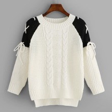 Lace Up High Low Sweater