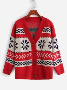 Geo Pattern Knit Coat
