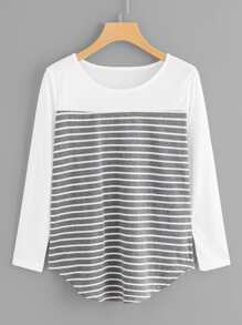 Plus Cut And Sew Panel Striped Tee