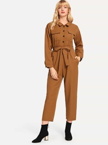 Solid Single Breasted Belted Jumpsuit