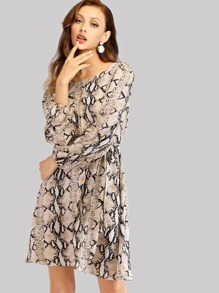 Self Tie Snake Print Dress