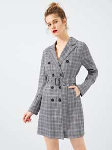 Waist Belted Double Button Plaid Dress