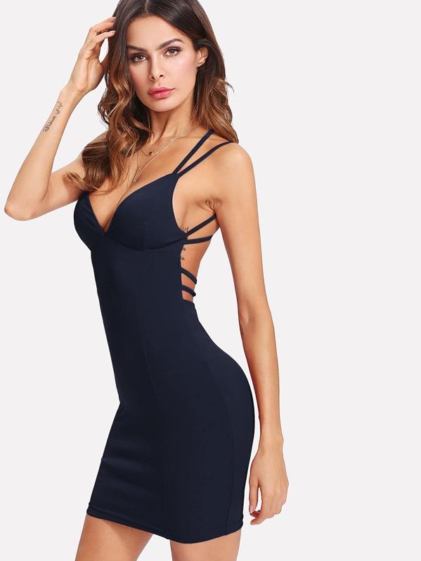 e626b16afb Strappy Back Plunging Bodycon Cami Dress | SHEIN