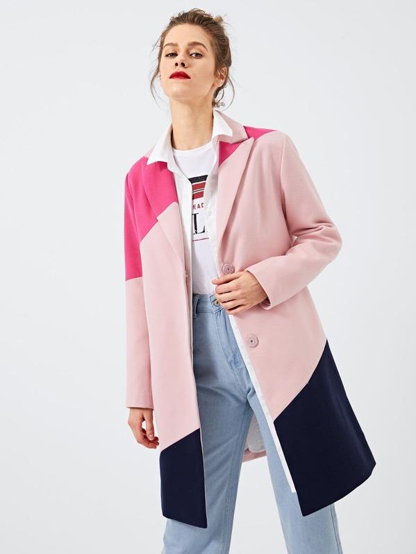 a229e0cf71 Color Block Shawl Collar Coat | SHEIN