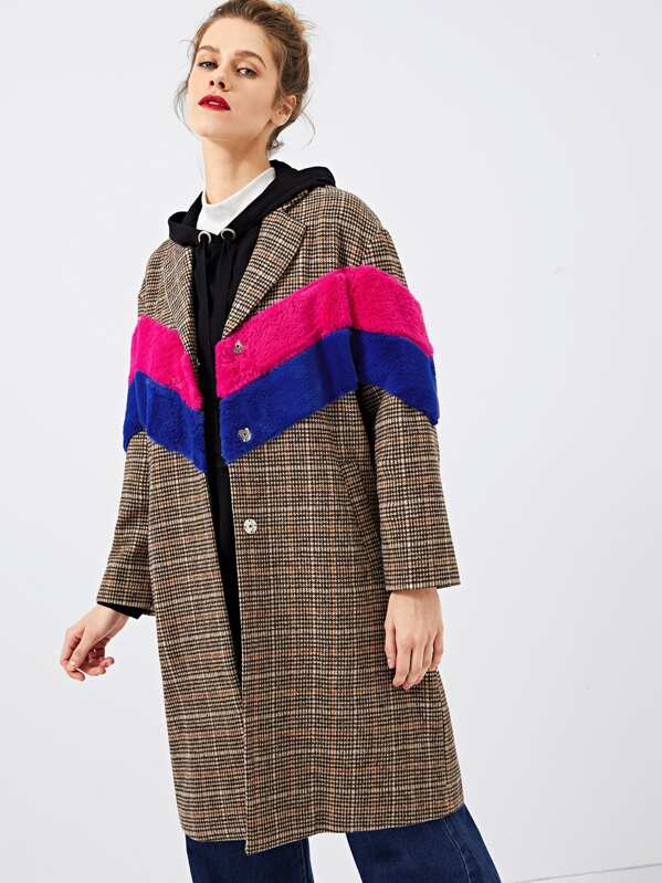 c52f74246f Cheap Color Block Notched Neck Plaid Coat for sale Australia | SHEIN