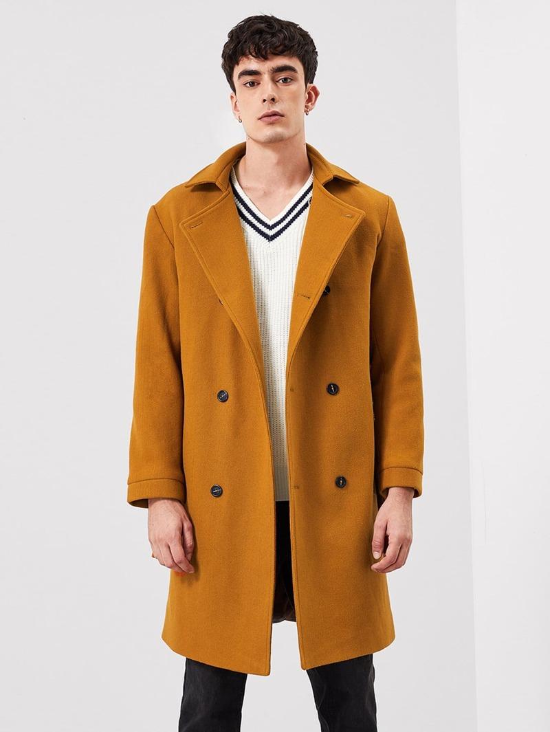 Homme Manteau Avec Bouton Unicolore Devant Long 1TlcKJF