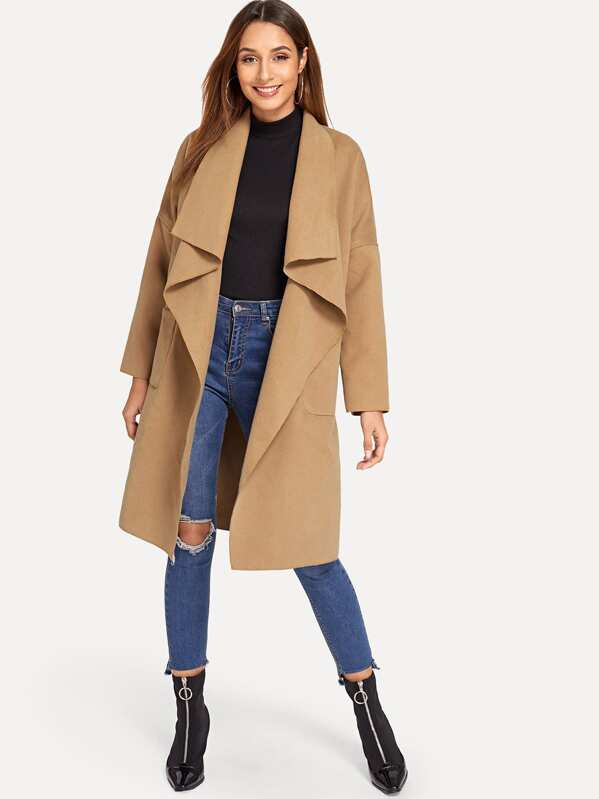 3c5bd0153a Cheap Pocket Front Waterfall Coat for sale Australia | SHEIN