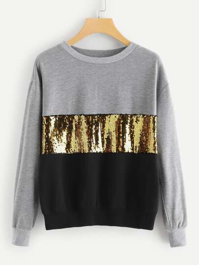 Contrast Sequin Cut and Sew Sweatshirt