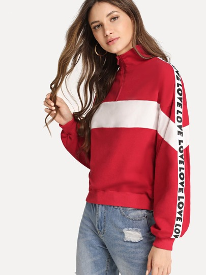 Zip Half Placket Letter Tape Side Sweatshirt