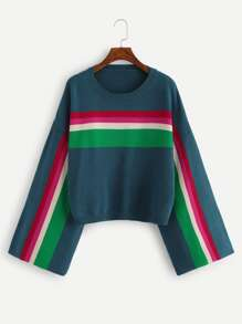 Plus Trumpet Sleeve Color Block Jumper