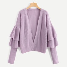Plus Open Front Tiered Bell Sleeve Cardigan