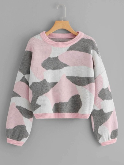 Plus Camo Print Crop Jumper