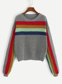 Plus Dropped Shoulder Striped Jumper