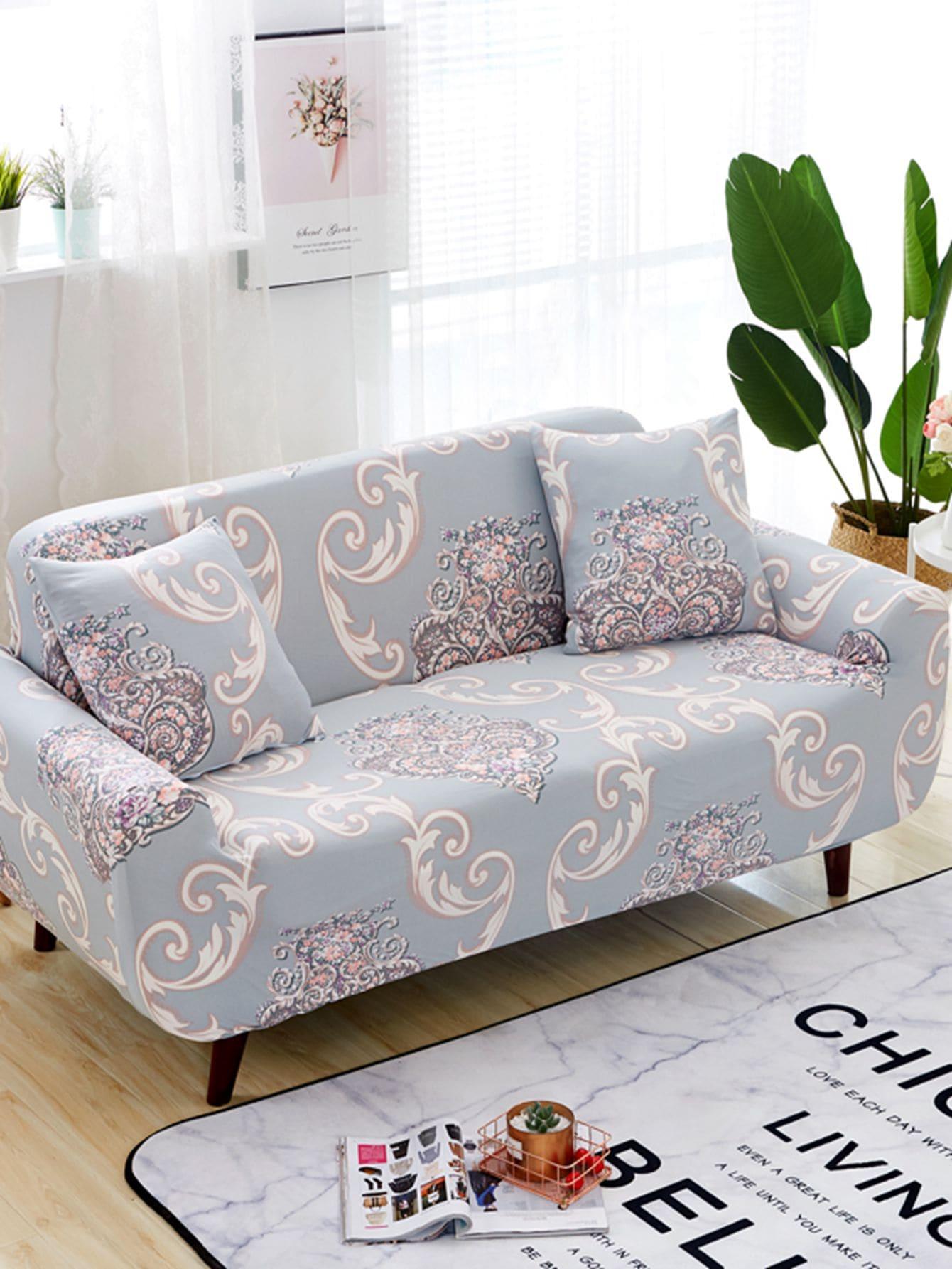 Housse de sofa extensible imprim e fleur housse de cousin 1 pi ce french romwe for Housse de sofa