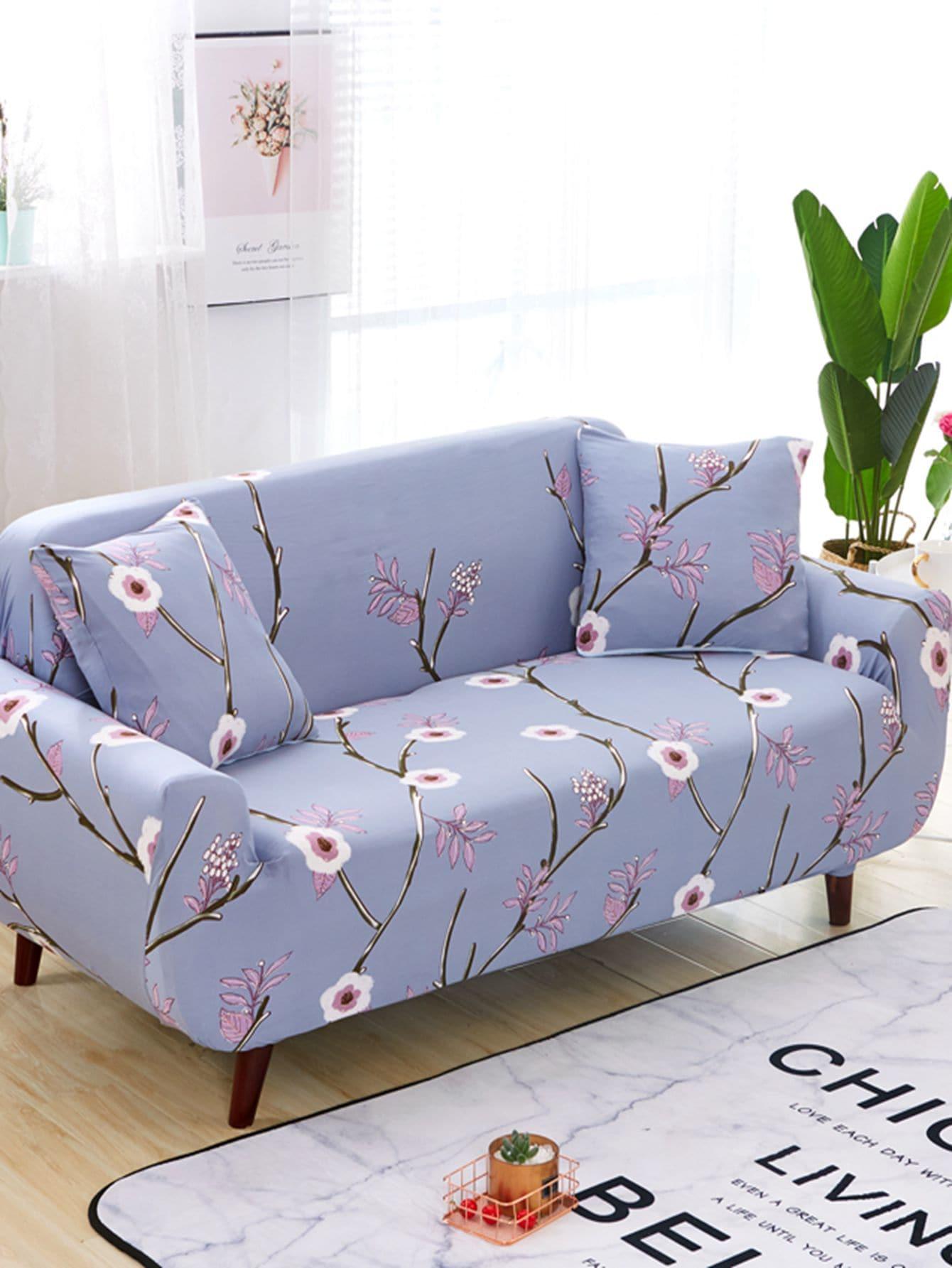 Housse de sofa extensible imprim e fleur housse de cousin 1 pi ce romwe for Housse de sofa