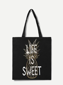 Slogan And Pineapple Print Tote Bag