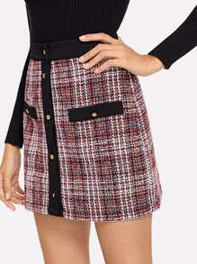 Solid Trim Button Up Tweed Skirt