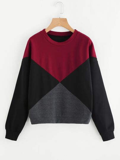 Cut And Sew Color Block Sweatshirt