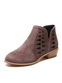 Cut Out Suede Boots