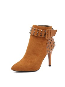 Studded Decor Pointed Toe Boots