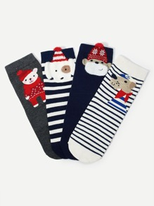 Christmas Animal Pattern Socks 4pairs