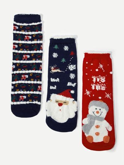 8c54ce0f0fb Chaussettes de Noël à motif de bonhomme de neige 3 paires