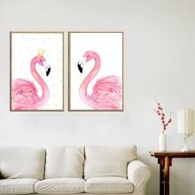 Flamingo Print Wall Art 2pcs