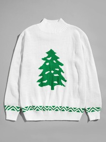 Men Christmas Tree Print High Neck Jumper
