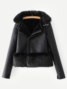 Contrast Faux Fur Solid Jacket