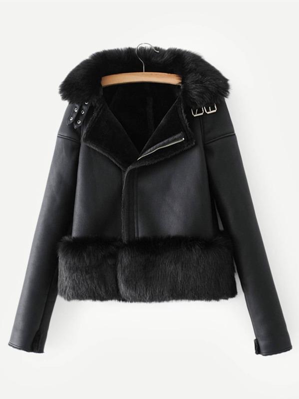 9d33f328ac Contrast Faux Fur Solid Jacket