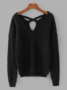 Criss-Cross Back Cable Knit Sweater