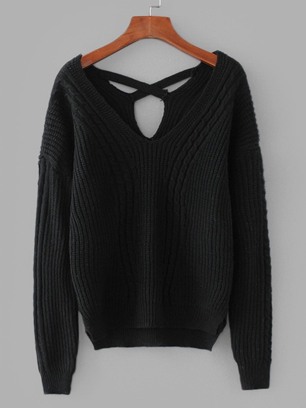 8b83f3eff40355 Criss-Cross Back Cable Knit Sweater | SHEIN