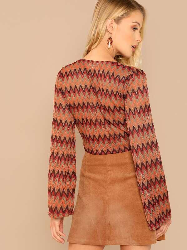 dd9116fd3 Zig Zag Knit Tie Front Long Sleeve Crop Top -SHEIN(SHEINSIDE)