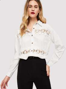 Solid Contrast Lace Blouse