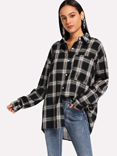 Pocket Patch Tartan Boyfriend Shirt