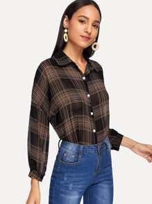 Drop Shoulder Chiffon Plaid Shirt