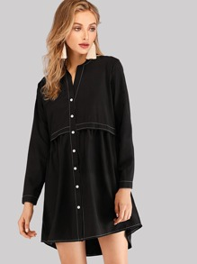 Contrast Stitching Shirt Dress