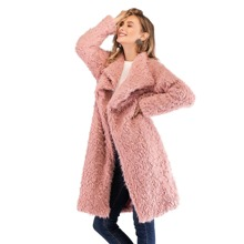 Waterfall Collar Solid Teddy Coat