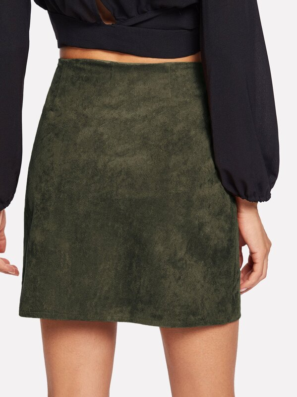 7250292ec Solid Single Breasted Suede Skirt | SHEIN