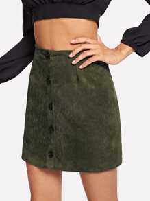 Solid Single Breasted Suede Skirt