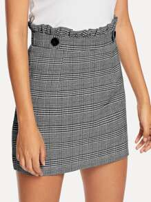 Frill Trim Checked Skirt