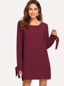 Knot Cuff Solid Dress