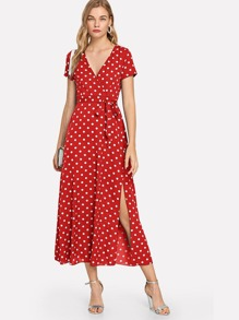 Polka Dot Belted Dress
