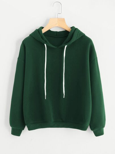 Drop Shoulder Drawstring Detail Hoodie