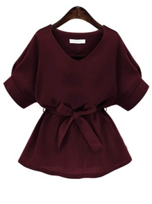 Plus Solid V Neck Blouse