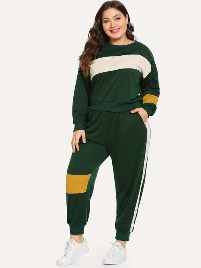Plus Color-block Sweatshirt With Pants