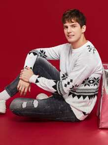 Men Christmas Print Jumper